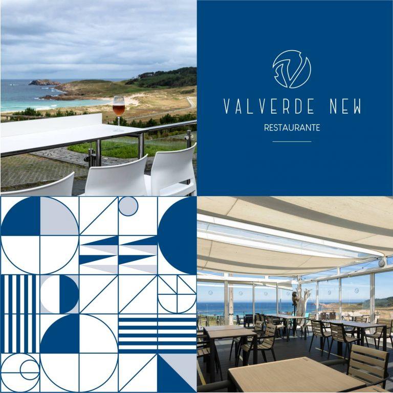 Mosaico conel logo de Valverde New y vistas de las terrazas
